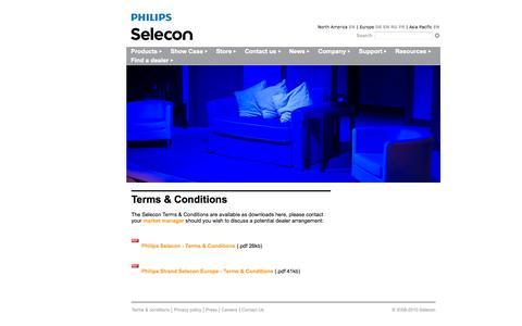 Screenshot of Terms Page seleconlight.com - Terms & Conditions - captured Nov. 4, 2014