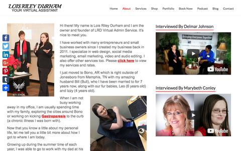 Screenshot of About Page loisrileydurham.com - About LRD | Lois Riley Durham - captured Sept. 25, 2018