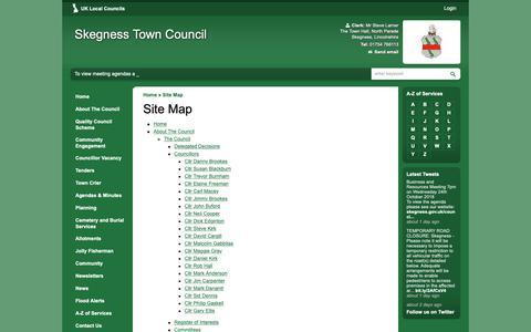 Screenshot of Site Map Page skegness.gov.uk - Site Map | Skegness Town Council - captured Oct. 18, 2018