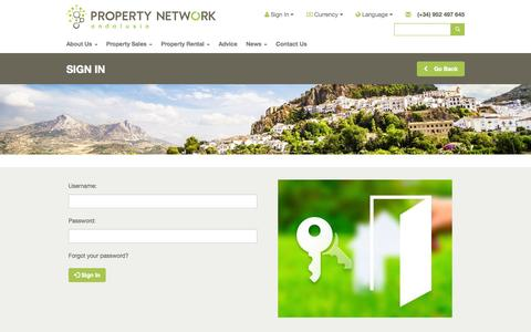 Screenshot of Login Page propertynetworkandalusia.com - Sign In - captured Oct. 28, 2014