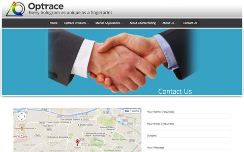Screenshot of Contact Page optrace.ie - Contact Us | OptraceOptrace - captured June 16, 2015