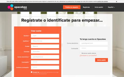 Screenshot of Signup Page spacebee.com - Spacebee | Regístrate o identifícate para empezar... - captured Oct. 26, 2014