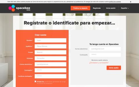 Screenshot of Signup Page spacebee.com - Spacebee | Regístrate o identifícate para empezar... - captured Oct. 26, 2014