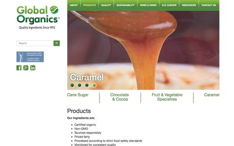 Screenshot of Products Page global-organics.com - Certified Organic Food Ingredients - Fair Trade Products - Global Organics - captured Jan. 29, 2016
