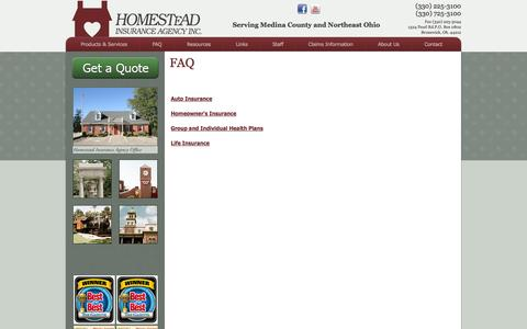 Screenshot of FAQ Page homesteadins.com - Frequently Asked Questions about Insurance Policies | Homestead Insurance - Insuring Medina County - captured Oct. 3, 2014