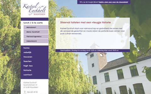 Screenshot of Menu Page kasteeleyckholt.nl - Lekker à la carte eten bij Kasteel Eyckholt - captured Sept. 30, 2014