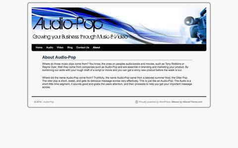 Screenshot of About Page audio-pop.com - About Audio-Pop | Audio-Pop - captured Sept. 30, 2014