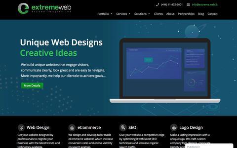 Screenshot of Home Page extremewebdesigners.com - Web Design Sri Lanka - Professional Web Design Company Sri Lanka - captured July 3, 2019