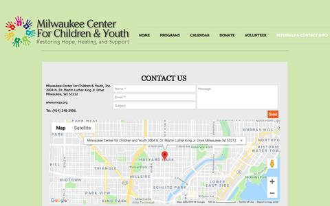 Screenshot of Contact Page mccy.org - mccy | REFERRALS & CONTACT INFO - captured Dec. 20, 2018
