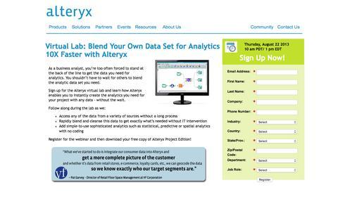 Screenshot of Landing Page alteryx.com - Data Blending Virtual Lab Register Now - captured April 15, 2016