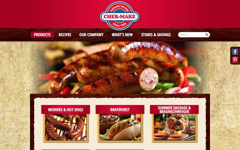 Screenshot of Products Page cher-make.com - Cher Make - Authentic Sausage - captured Jan. 27, 2016