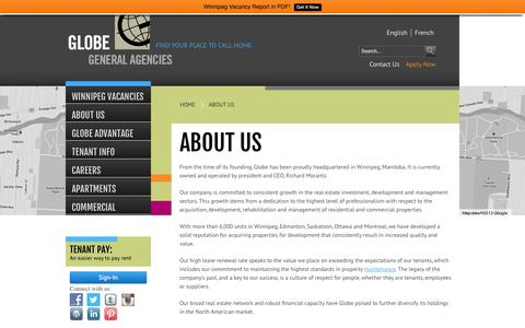 Screenshot of About Page globegeneral.ca - ABOUT US - Winnipeg Apartments for Rent - captured Oct. 2, 2014