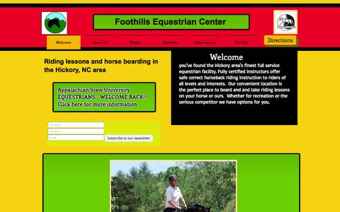Screenshot of Home Page foothillsweb.com - Foothills Equestrian Center riding lessons, horse boarding Hickory NC - captured Oct. 6, 2014