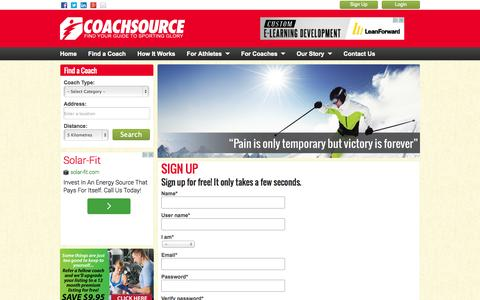 Screenshot of Signup Page coachsource.com.au - Sign Up | CoachSource Australia - captured Oct. 2, 2014