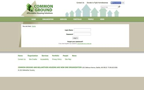 Screenshot of Login Page commongroundwa.org - Affordable Housing Development - captured Oct. 2, 2014