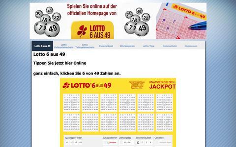 Screenshot of Home Page lotto-zentrum.de - Lotto 6 aus 49 - Lotto-Zentrum - captured March 4, 2018