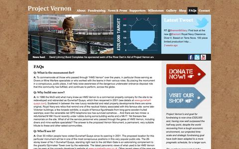 Screenshot of FAQ Page vernon-monument.org - FAQs  |  Vernon Monument - captured Oct. 26, 2014