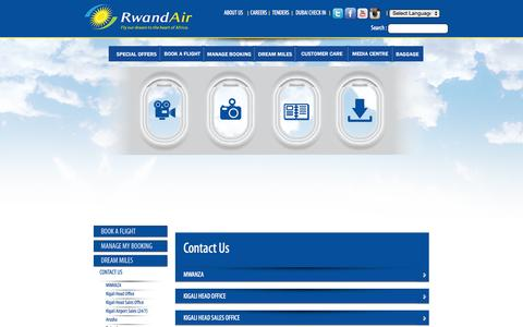 Screenshot of Contact Page rwandair.com - Rwandair - Fly our Dream to the Heart of Africa. - captured Nov. 5, 2014
