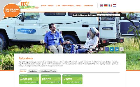 Screenshot of Home Page rvrelocations.com - Campervan Relocations & Car Relocations | RV Relocations in Australia, NZ and USA - captured Sept. 30, 2014