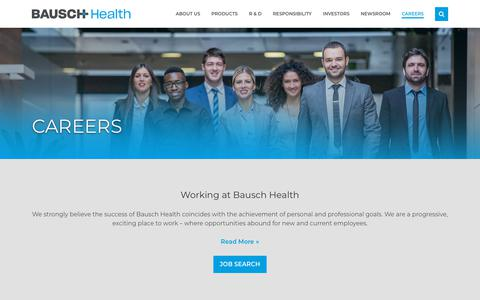 Screenshot of Jobs Page bauschhealth.com - Careers | Bausch Health - captured July 19, 2018