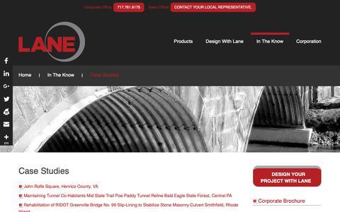 Screenshot of Case Studies Page lane-enterprises.com - Case Studies - Lane Enterprises. Inc. - captured Sept. 27, 2018
