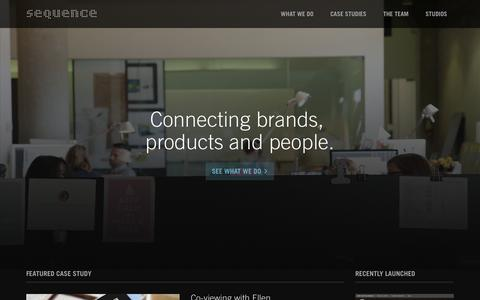 Screenshot of Home Page sequence.com - Sequence | Connecting Brands, Products and People - captured Dec. 4, 2015