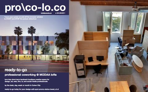 Screenshot of Home Page procolo.co - Culver City office space for share or rent | coworking at MODAA lofts - procolo.co - captured Jan. 23, 2015