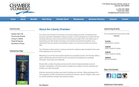Screenshot of About Page libertychamber.com - About | Liberty Chamber of Commerce - captured Nov. 7, 2016