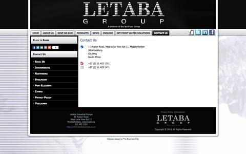 Screenshot of Contact Page letabapumps.co.za - Contact Us - captured Oct. 2, 2014