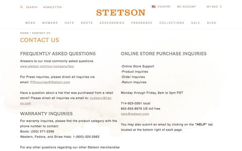 Screenshot of Support Page stetson.com - Stetson :: Contact Us - captured Aug. 24, 2018