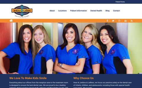 Screenshot of Home Page kidsmilekc.com - Jenkins & LeBlanc | Pediatric Dentist | Dentistry for Children - captured Feb. 11, 2016