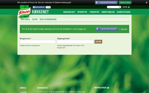 Screenshot of Login Page knorr.dk - Brugerkonto | Knorr - captured March 8, 2016