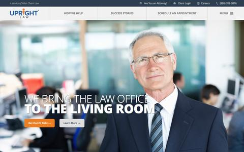 Screenshot of Home Page uprightlaw.com - UpRight Law, File Bankruptcy Online, Attorney, Lawyers, Debt - captured June 18, 2015