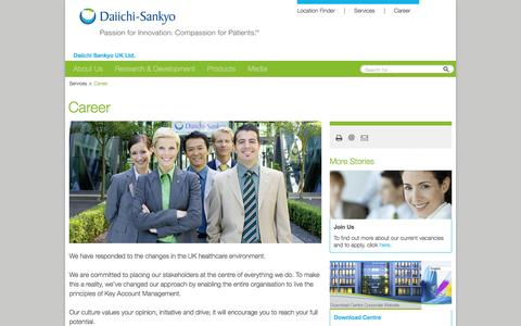 Screenshot of Services Page daiichi-sankyo.co.uk - Career: Daiichi Sankyo UK - captured Feb. 9, 2016