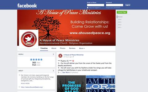 Screenshot of Facebook Page facebook.com - A House of Peace Ministries - Grand Prairie, TX - Nondenominational Church, Religious Organization | Facebook - captured Oct. 22, 2014