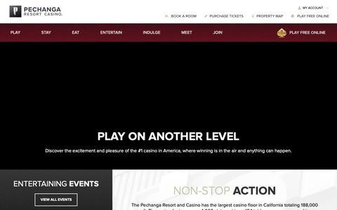 Screenshot of Home Page pechanga.com - Pechanga Resort Casino - captured April 20, 2019