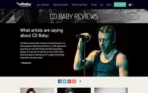 Screenshot of Testimonials Page cdbaby.com - CD Baby Testimonials and Reviews - captured Nov. 3, 2015