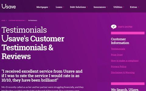Screenshot of Testimonials Page usave.co.uk - Testimonials   Usave - captured Oct. 26, 2014