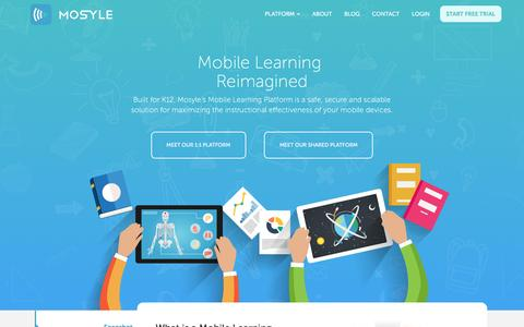 Screenshot of Home Page mosyle.com - Mosyle | Mobile Learning Platform - captured Feb. 14, 2016