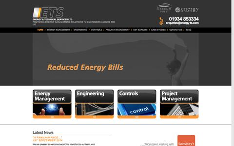 Screenshot of Home Page energy-ts.com - Energy management company serving the UK | ETS - captured Oct. 2, 2014