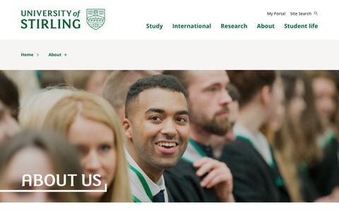 Screenshot of About Page stir.ac.uk - Come see what we're About | About | University of Stirling - captured Sept. 22, 2018
