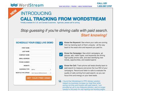 Screenshot of Landing Page wordstream.com - Call Tracking From WordStream - captured Feb. 24, 2016