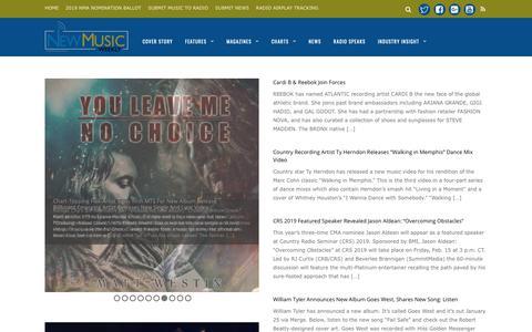 Screenshot of Press Page newmusicweekly.com - News - New Music Weekly - captured Nov. 8, 2018