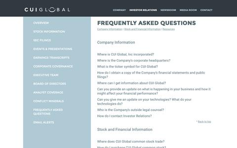 Screenshot of FAQ Page cuiglobal.com - Frequently Asked Questions | CUI Global - captured Oct. 14, 2016