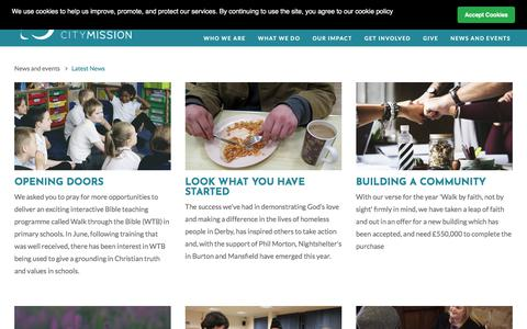 Screenshot of Press Page derbycitymission.org.uk - Derby City Mission | News - captured Aug. 6, 2018