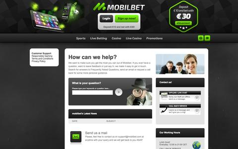 Screenshot of Support Page mobilbet.com - Mobilbet | Support - captured Sept. 22, 2014