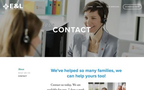 Screenshot of Contact Page eandleldercareservices.com - Contact — E&L Elder Care Services - captured Oct. 9, 2018