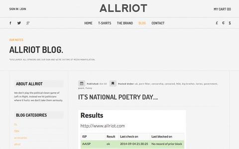 Screenshot of Blog allriot.com - Notes | Political T-Shirts, Funny T-Shirts & UK Urban Streetwear Clothing - captured Oct. 7, 2014