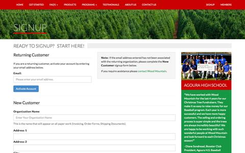 Screenshot of Signup Page woodmtn.com - Wood Mountain Christmas Trees - captured Oct. 7, 2014