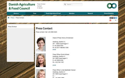Screenshot of Press Page agricultureandfood.dk - Press Contact - captured May 22, 2016